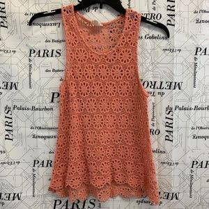 Pins and Needles Shirt Solid Coral Pink Lace